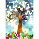 Kaart met levensboom met hartjes