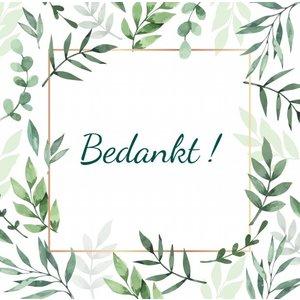 Vierkant label bedankt met blaadjes en ophanggaatje | eenbeetjegeluk.nl