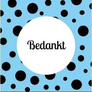 Label vierkant blauw met stippels met tekst bedankt 5 x 5 cm | eenbeetjegeluk.nl