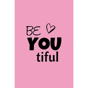 Roze Label  'Be You tiful' 8 x 5 cm    eenbeetjegeluk.nl