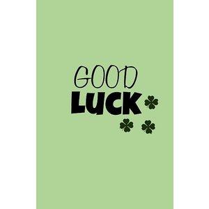Groen kadolabel met tekst Good Luck en klavertjes | eenbeetjegeluk.nl