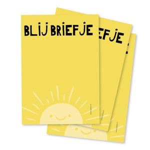 Notittieblokje A6 Blij briefje in gele kleur | eenbeetjegeluk.nl