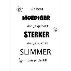 Motivatiekaart 'Je bent moediger' A6 ansichtkaart | eenbeetjegeluk.nl