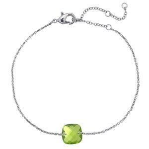 Zilverkleurig armbandje met een groen klein steentje | eenbeetjegeluk.nl