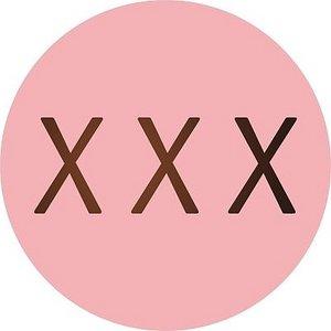 5 ronde stickers met gouden xxx-jes | eenbeetjegeluk.nl