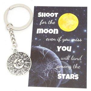 Sleutelhanger Zon Maan en horoscooptekens | eenbeetjegeluk.nl