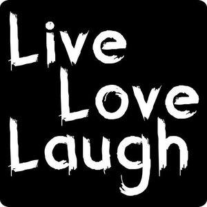 Sticker Live Laugh Love zwart met witte letters 5 stickers | eenbeetjegeluk.nl
