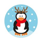 Kadolabel met penguin met gewei 5 x 5 cm