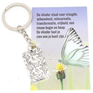 Sleutelhanger vlinder met kaartje vlinder   eenbeetjegeluk.nl