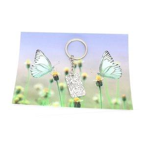 Kaart vlinder met sleutelhanger vlinder | eenbeetjegeluk.nl