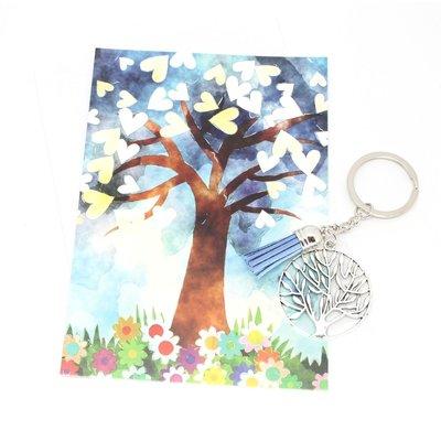 Kaart met de tree of life met een sleutelhanger tree of life