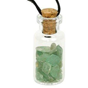 Flesje met aventurijn steentjes