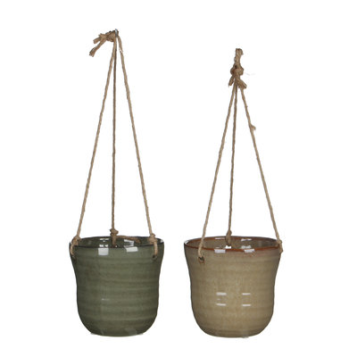 MiCa 1022491 Hanging pot Stef green taupe