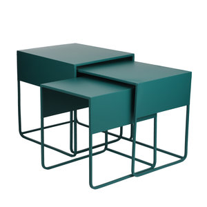 MiCa 1076627 Ezra side table green set of 3