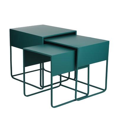 MiCa 1076627 Ezra side table green set of 3