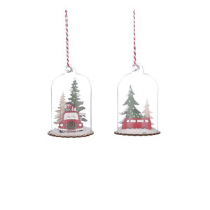 House of Seasons Ornament car red 2 assorti