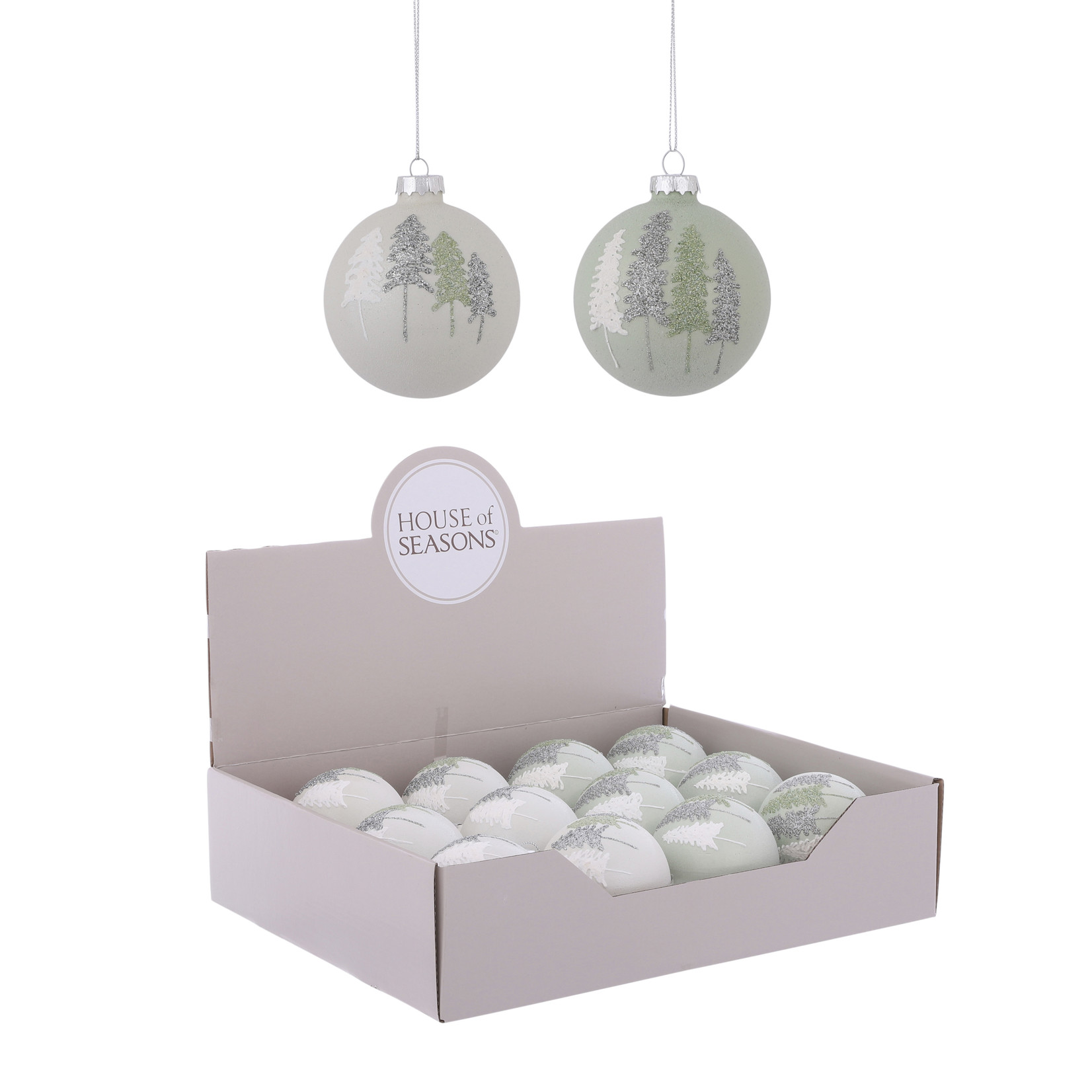 House of Seasons Ornament bal wit groen