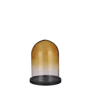 Mica Decorations Hella cloche glass brown on black plate