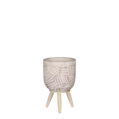Mica Decorations Gaby pot op standaard creme