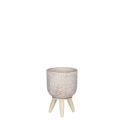 Mica Decorations Gaby pot op standaard creme