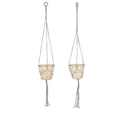 Mica Decorations Leyla mand hangend l.bruin 2 assorti