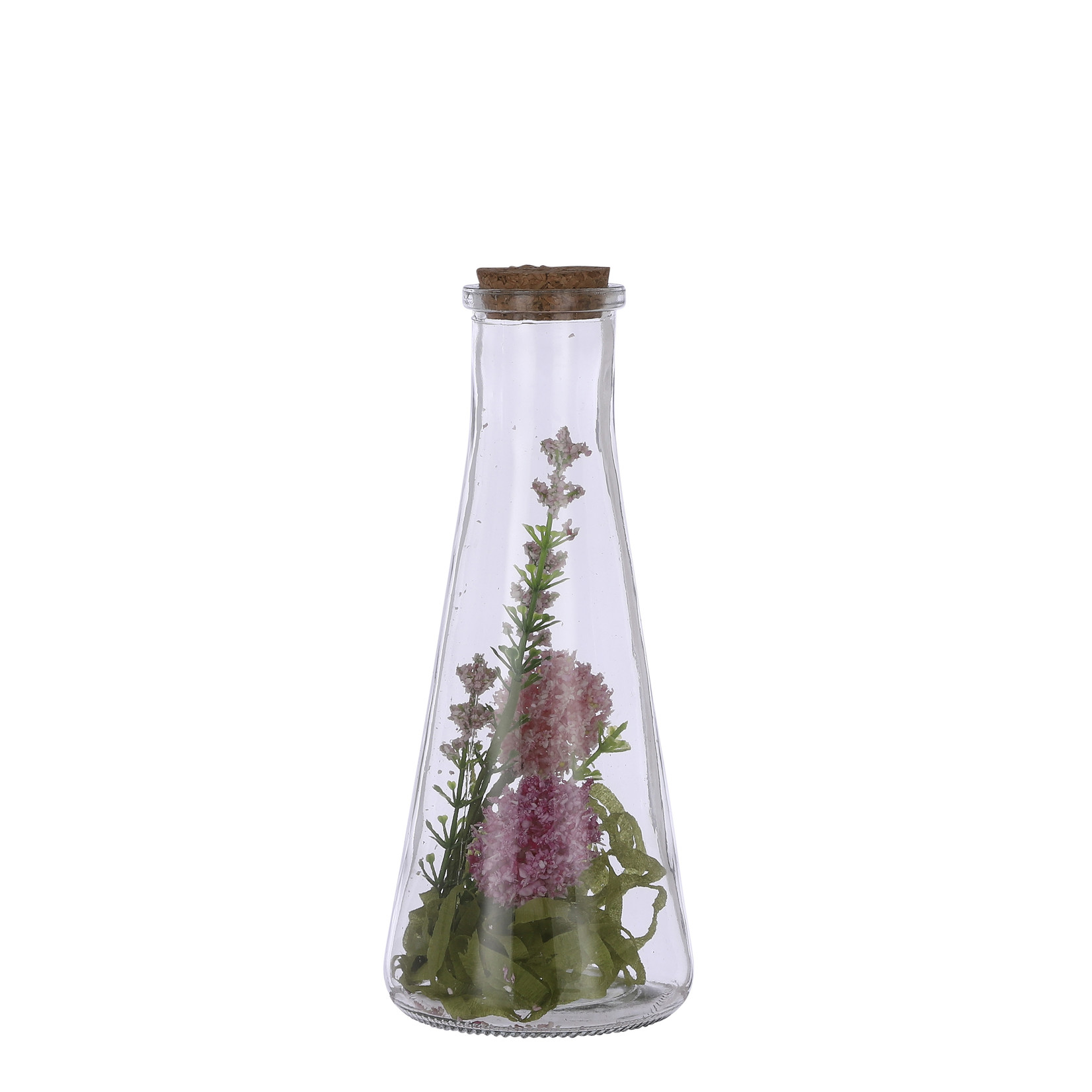 Mica Decorations Dried-look spring flower in vase pink
