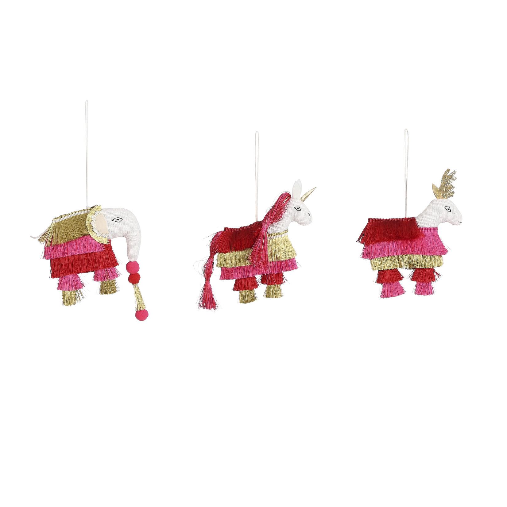 House of Seasons Ornament dier rood roze goud 3 assorti