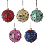 House of Seasons Ornament bal glass pink yellow green blue red