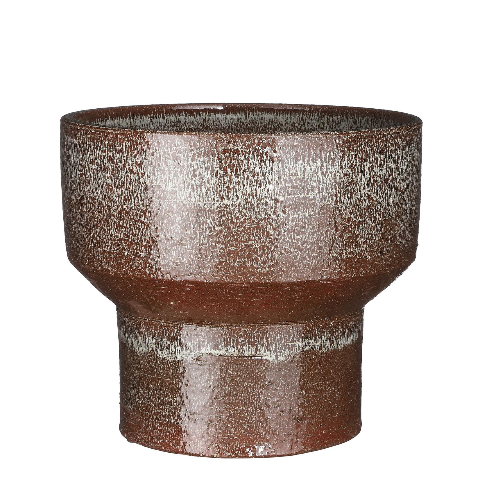 Mica Decorations Pietra pot round brown glaze