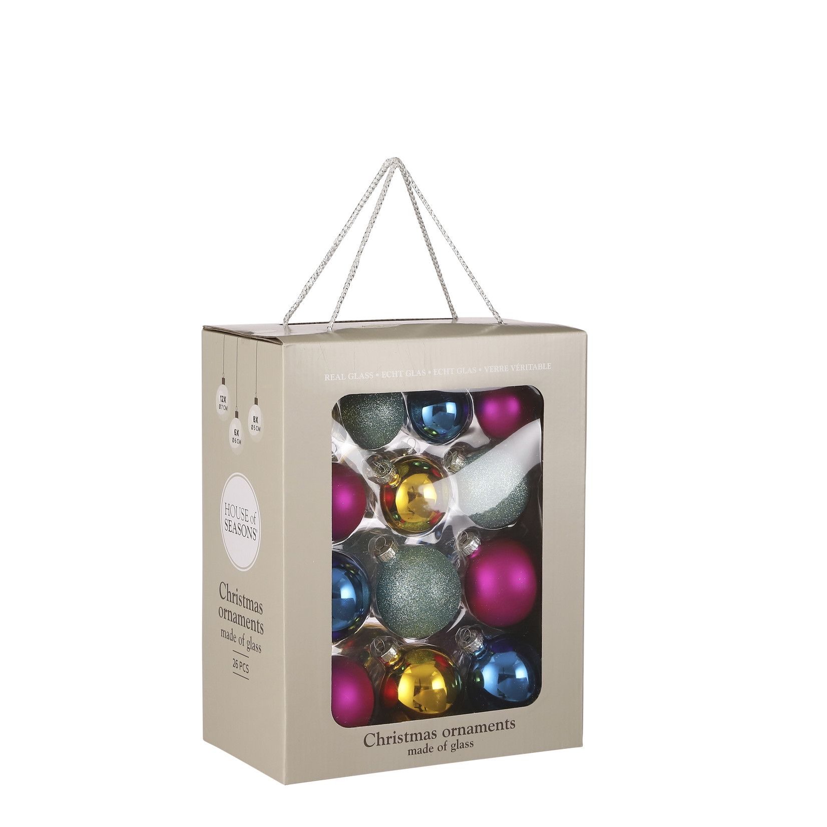 House of Seasons Bal glass multicolored 26 pieces