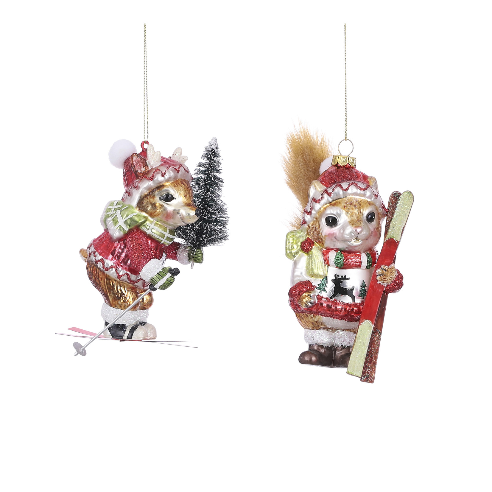 House of Seasons Ornament squirrel red 2 assorted