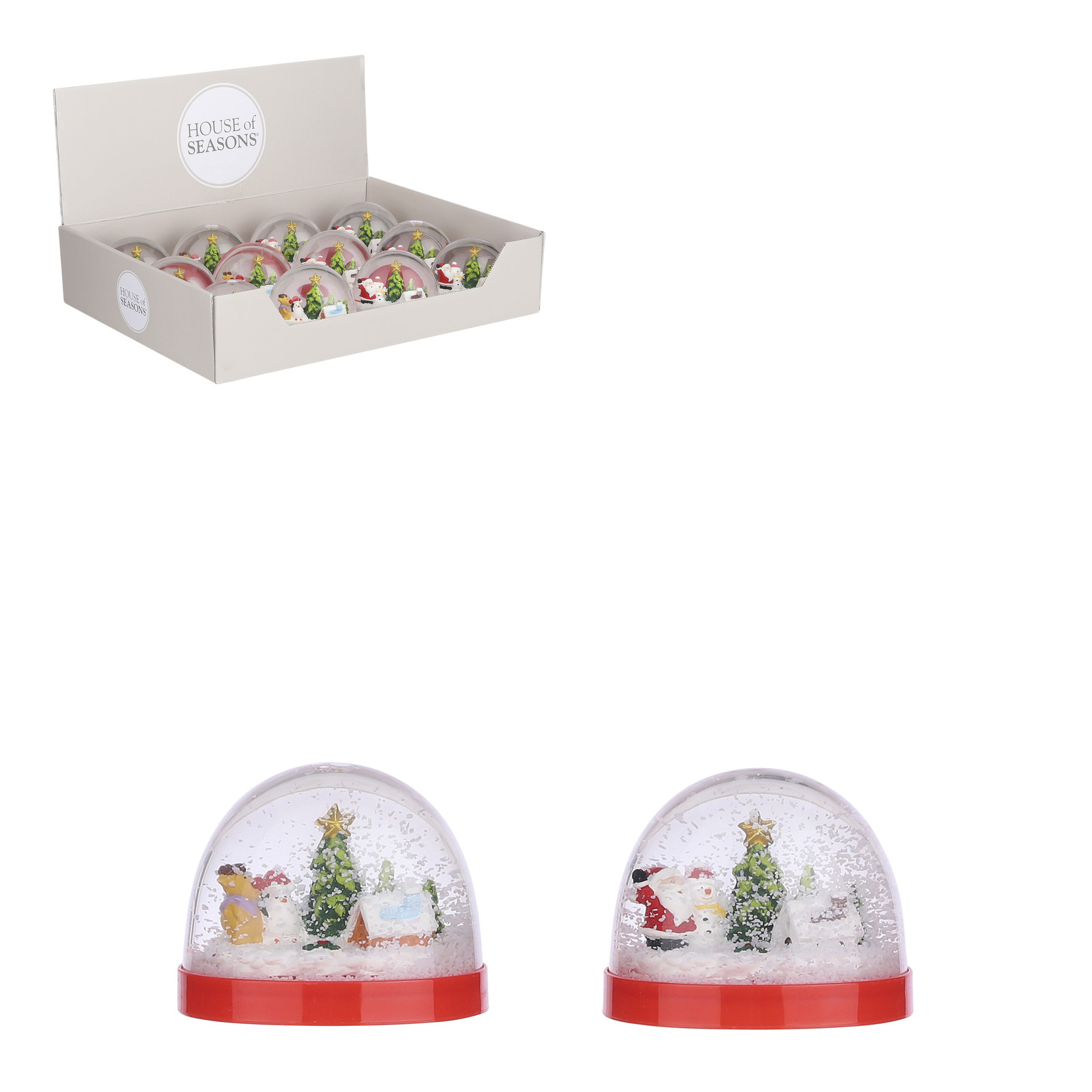 House of Seasons Water ball winter scene red 2 assorted