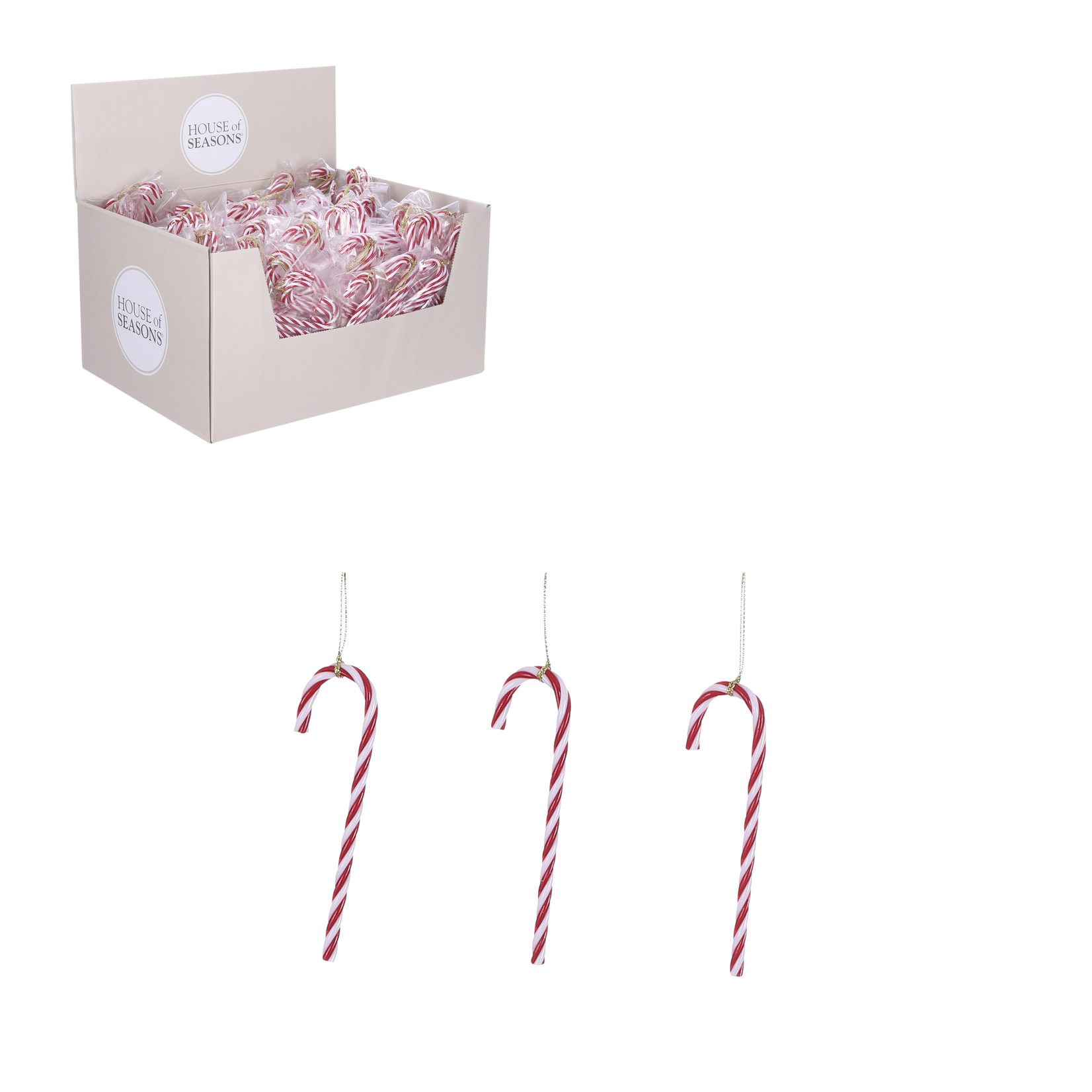 House of Seasons Ornament candy cane red 3 pieces