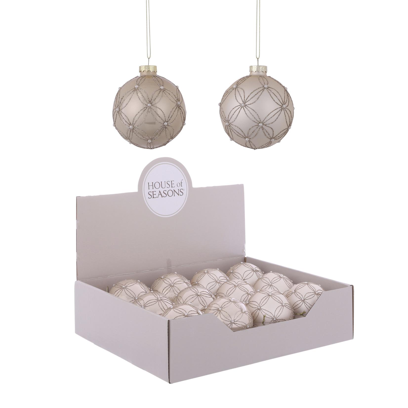 House of Seasons Ornament bal creme 2 assorti
