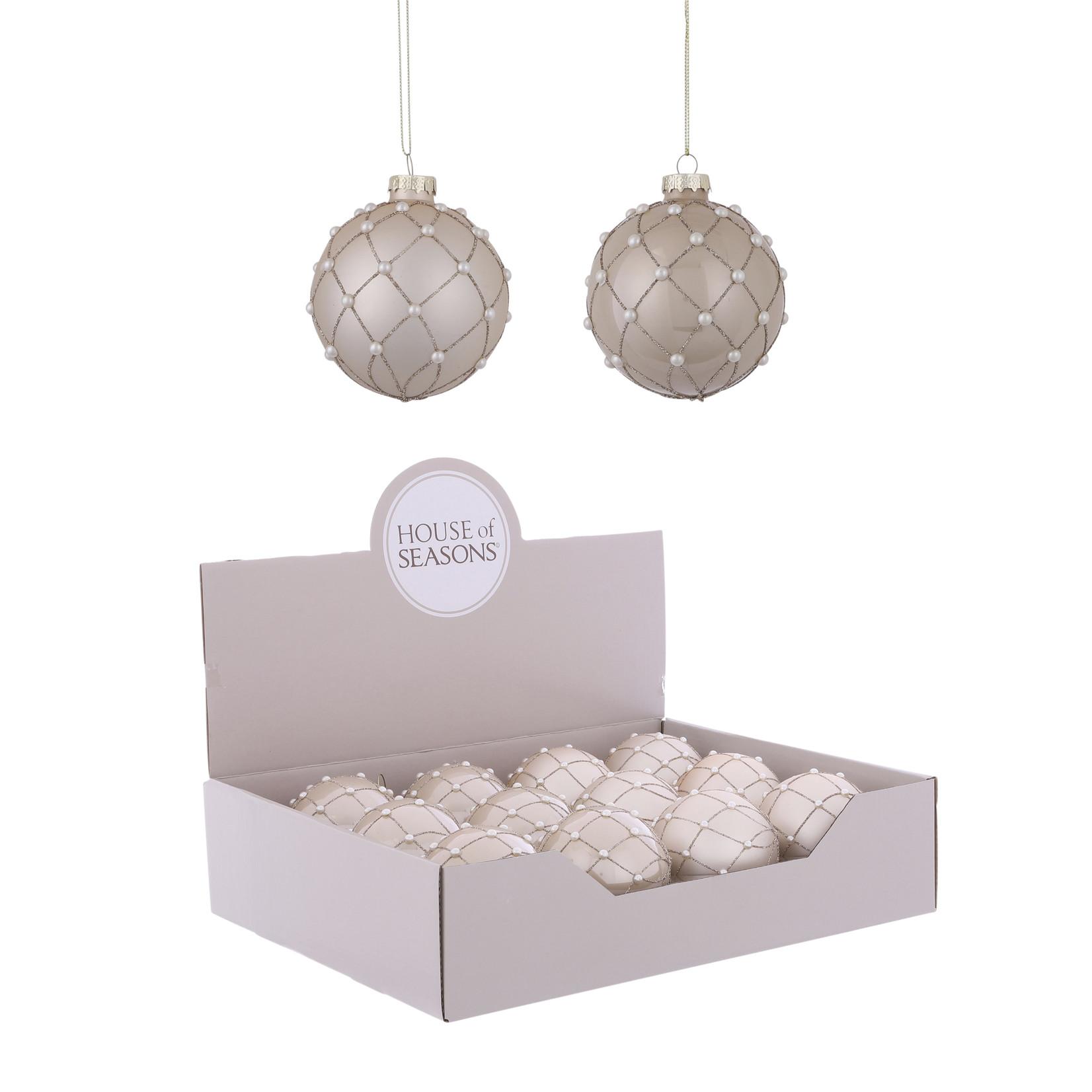 House of Seasons Ornament ball cream 2 assorted