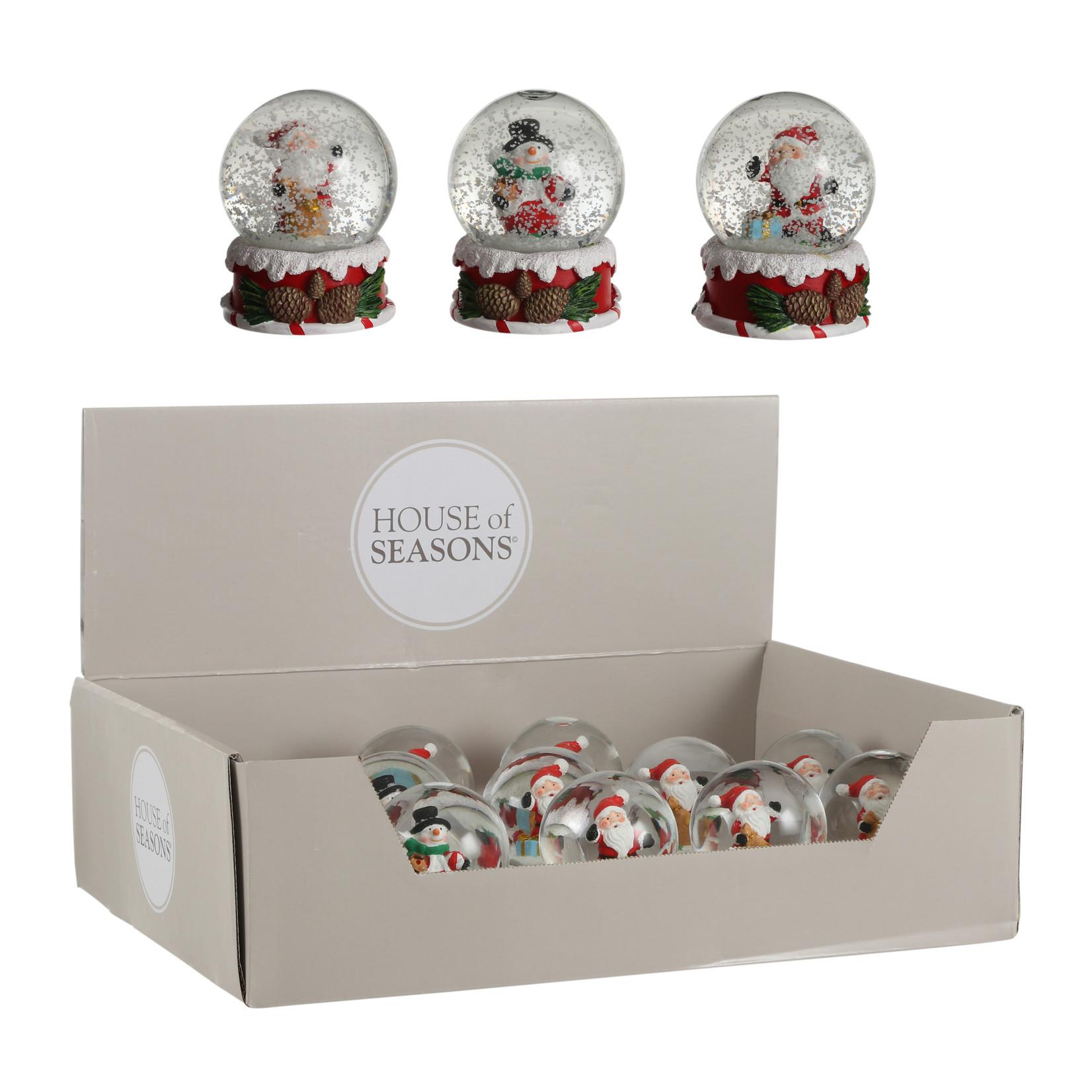 House of Seasons Waterglobe christmas figure white 3 assorted