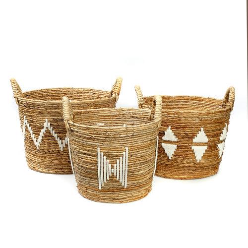 Bazar Bizar The Banana Stitched Baskets - Natural White - SET3