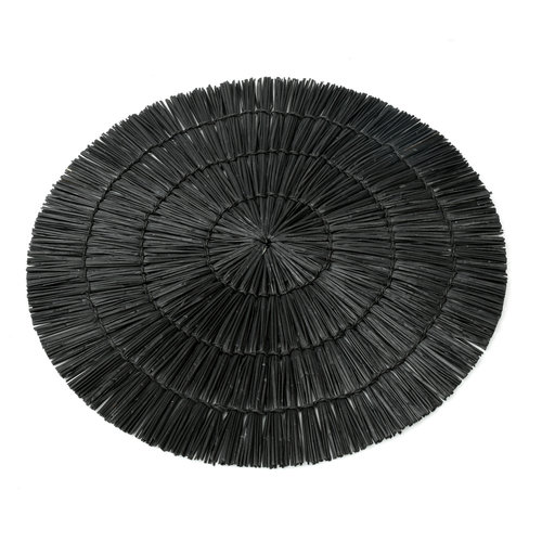 Bazar Bizar The Alang Alang Placemat - Round - Black - 38 cm