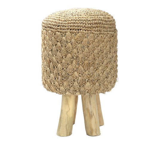 Bazar Bizar The Raffia Tressed Stool - Natural