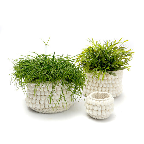 Bazar Bizar The Kai Macrame Planter - White - 14 cm