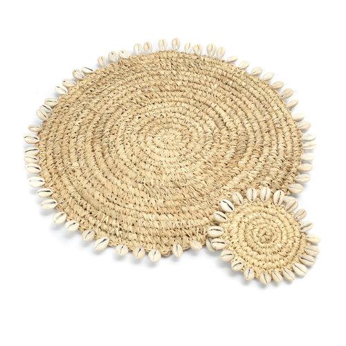 Bazar Bizar Raffia Shell Tabletti - Natural - 38 cm