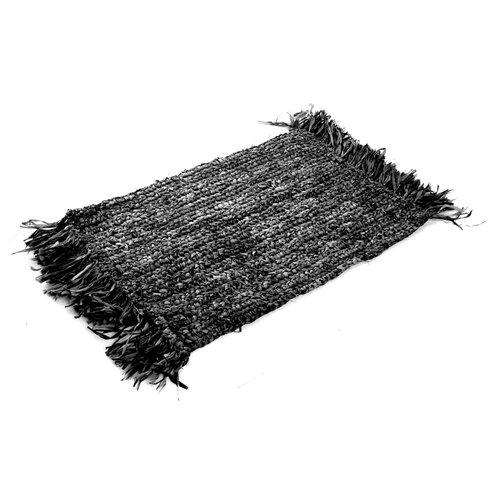 Bazar Bizar Fringe Raffia Tabletti Suorakulma - Musta - 65 cm