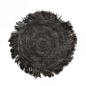 Bazar Bizar Fringe Raffia Tabletti Pyöreä - Musta - 45 cm