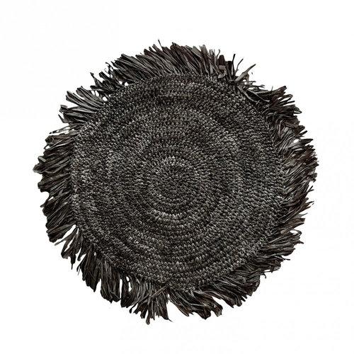 Bazar Bizar The Fringe Raffia Placemat Round - Black - 45 cm
