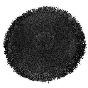 Bazar Bizar Raffia Matto Hapsuilla Pyöreä - Musta - 150 cm