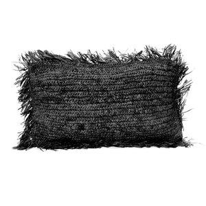 Bazar Bizar The Raffia Cushion cover Rectangular - Black - 30 x 50 cm