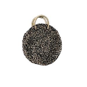 Bazar Bizar The Seagrass Spotted Roundi Bag  - Natural Black - Small