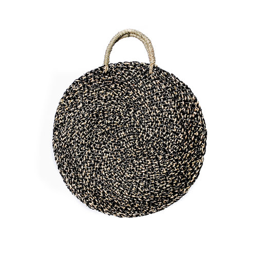 Bazar Bizar The Seagrass Spotted Roundi Bag  - Natural Black - Middle-sized