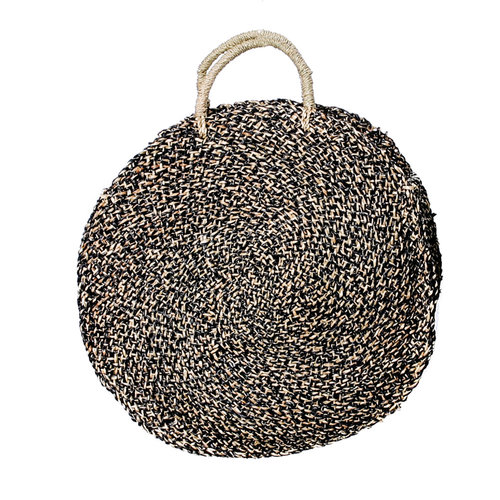 Bazar Bizar The Seagrass Spotted Roundi Bag  - Natural Black - Large
