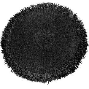 Bazar Bizar Raffia Matto Hapsuilla Pyöreä - Musta - 200 cm